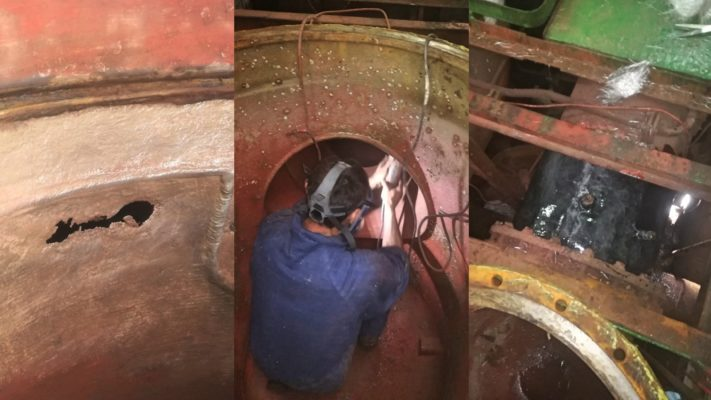 Repairing vessel's sea water pipe in confined interior place