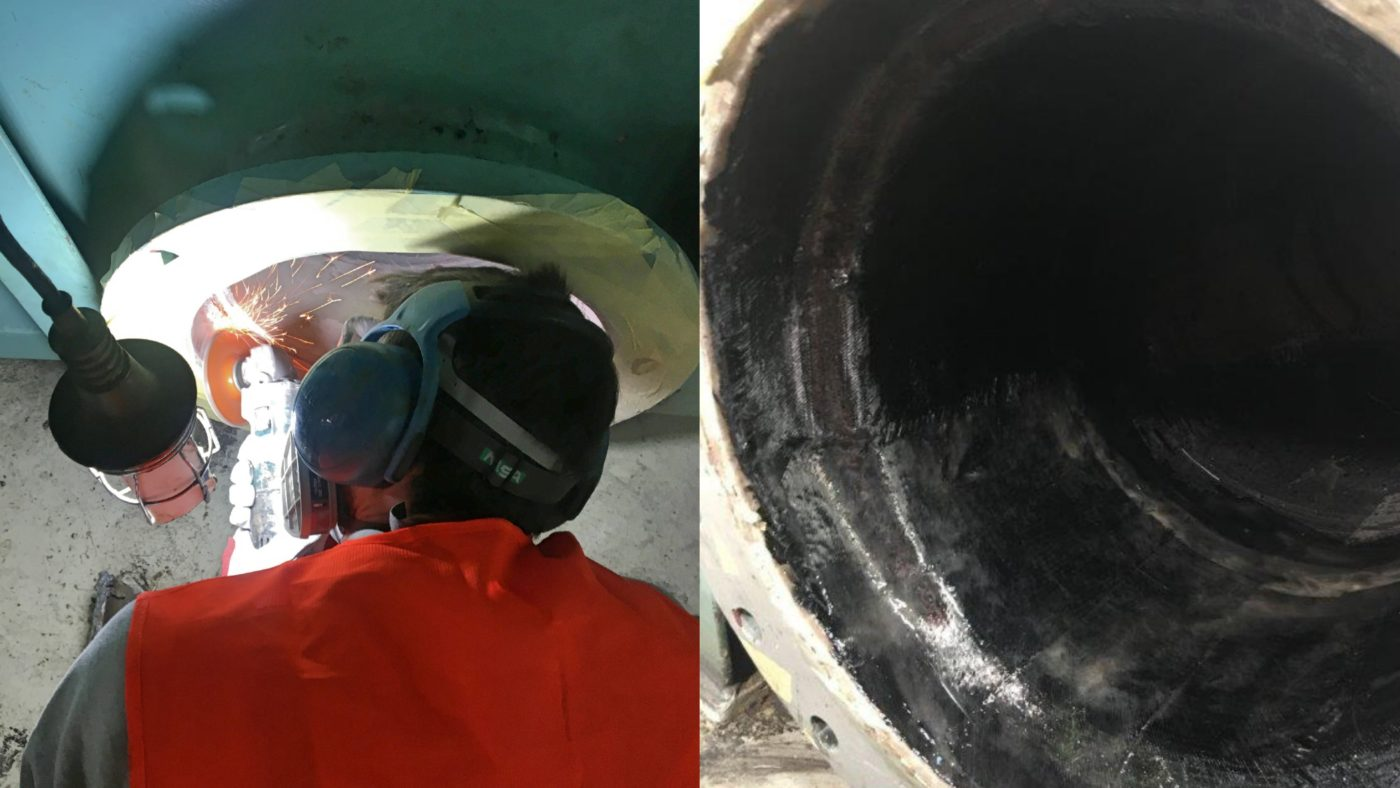 repair of pipe on process tank of scrubber system